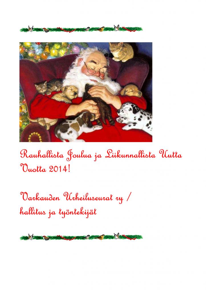 Rauhallista Joulua ja Liikunnallista Uutta Vuotta 2014-1